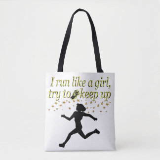 GOLD RUN LIKE A CHAMPION TRACK AND FIELD DESIGN TOTE BAG