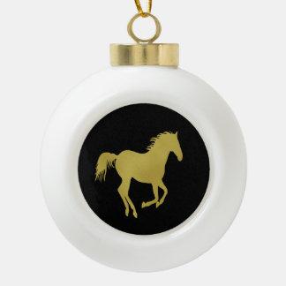 Gold Running Horse on Black Ceramic Ball Christmas Ornament