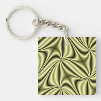 Gold Rush Hologram Fractal Double-Sided Square Acrylic Keychain