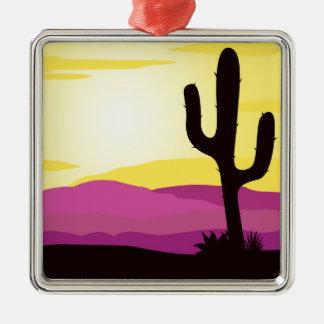 Gold rush : Mexicana gold Sunset II Silver-Colored Square Ornament