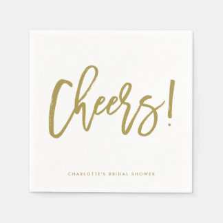 Gold Rustic Hand Lettering Cheers Wedding Napkin Paper Napkins