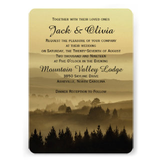 Gold Rustic Mountain Wedding Invitation