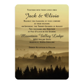 "Gold Rustic Mountain Wedding Invitation 5"" X 7"" Invitation Card"
