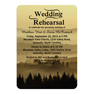 "Gold Rustic Mountain Wedding Rehearsal Dinner 4.5"" X 6.25"" Invitation Card"