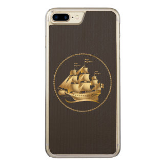 Gold Sailboat Nautical Men's Carved iPhone 7 Plus Case