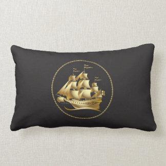 Gold Sailboat Nautical Men's Lumbar Pillow
