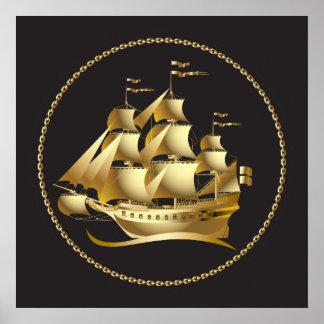 Gold Sailboat Nautical Poster