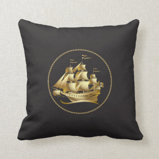 Gold Sailboat Nautical Throw Pillow