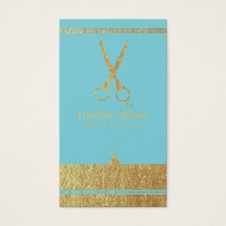 Gold Salon Hair Stylist Appointment Cards Blue