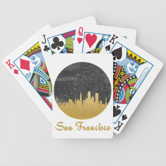 Gold San Francisco City Skyline Map Bicycle Playing Cards
