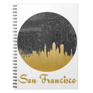 Gold San Francisco City Skyline Map Notebook