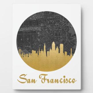 Gold San Francisco City Skyline Map Plaque