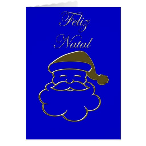 Gold Santa2 Merry Christmas Feliz Natal Portuguese Greeting Card
