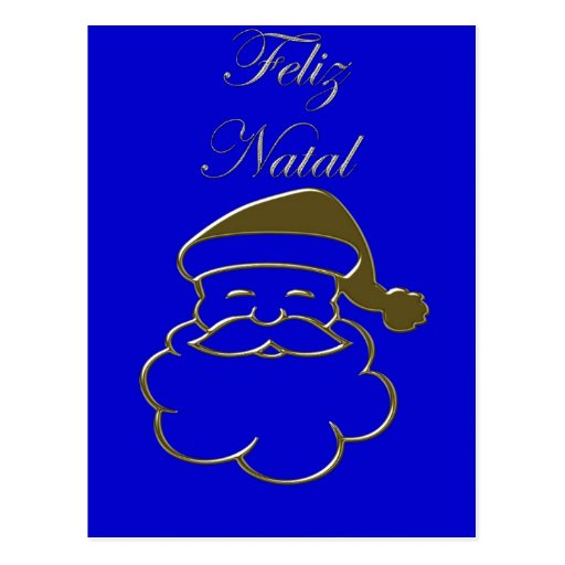 Gold Santa2 Merry Christmas Feliz Natal Portuguese Postcards