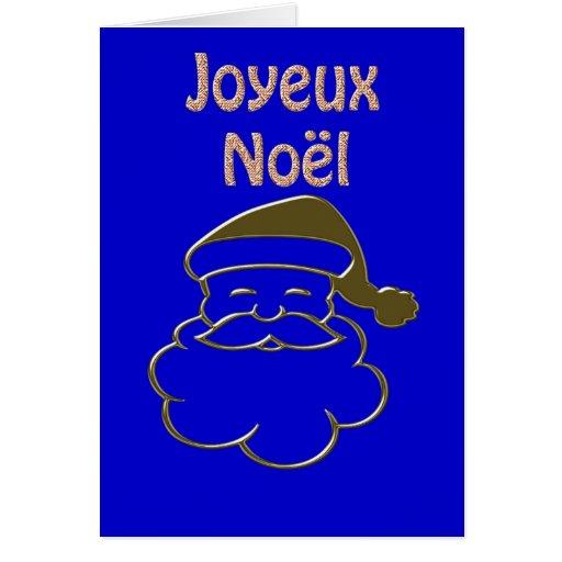 Gold Santa 2 Merry Christmas Joyeux Noel French Cards