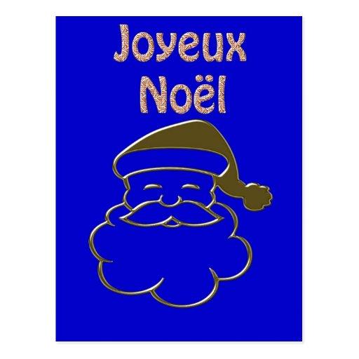 Gold Santa 2 Merry Christmas Joyeux Noel French Post Cards