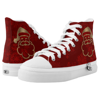 Gold Santa Claus Christmas Red Snowflakes High Tops