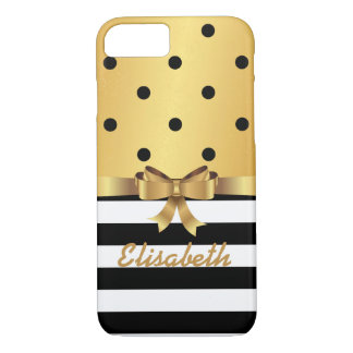 Gold satin BLAC polka dot stripe GOLD BOW MONOGRAM iPhone 7 Case