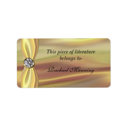 Gold Satin Bookplate Sticker