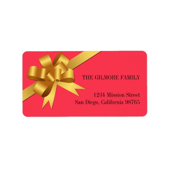 Gold satin gift bow ribbon holiday return address label