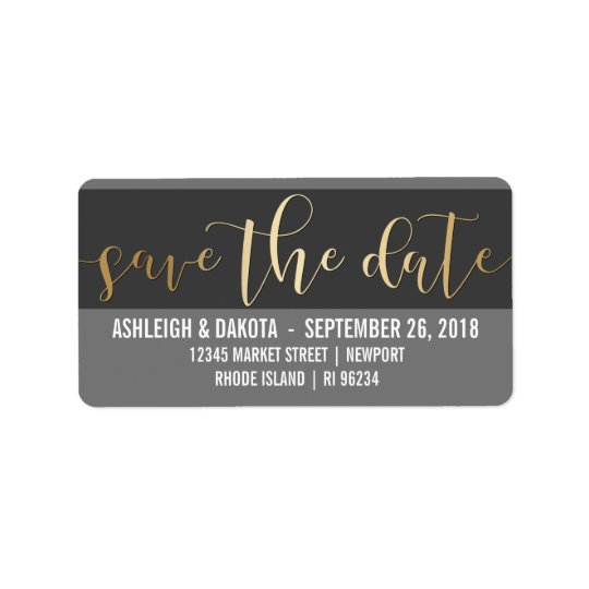 Gold Save The Date Script | Black & White Photo