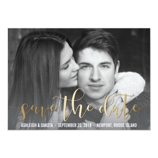 Gold Save The Date Script | Black & White Photo Card