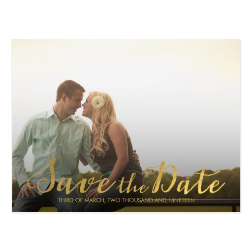 Gold Save the Date Typography Announcement Postcards