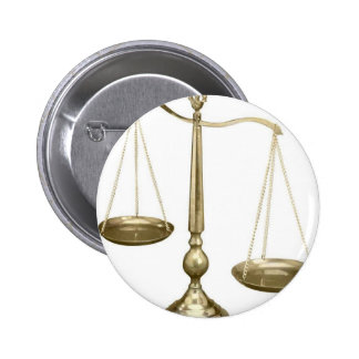 gold scales of justice 2 inch round button