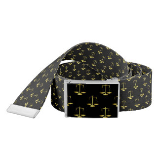 Gold Scales Of Justice on Black Repeat Pattern Belt