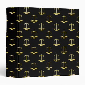 Gold Scales Of Justice on Black Repeat Pattern Binders