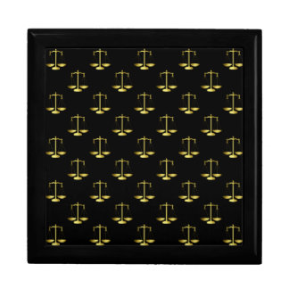 Gold Scales Of Justice on Black Repeat Pattern Gift Box