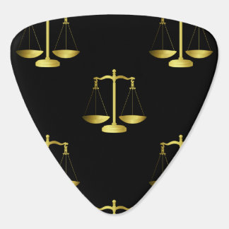 Gold Scales Of Justice on Black Repeat Pattern Guitar Pick
