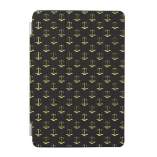 Gold Scales Of Justice on Black Repeat Pattern iPad Mini Cover