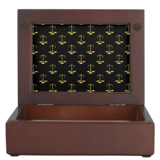 Gold Scales Of Justice on Black Repeat Pattern Keepsake Box
