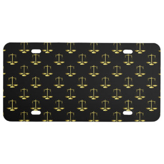 Gold Scales Of Justice on Black Repeat Pattern License Plate