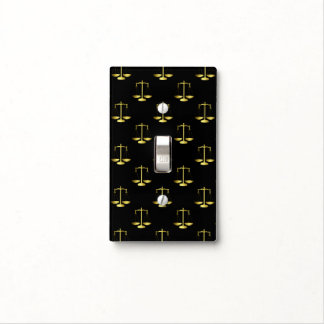 Gold Scales Of Justice on Black Repeat Pattern Light Switch Cover