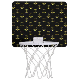 Gold Scales Of Justice on Black Repeat Pattern Mini Basketball Hoop