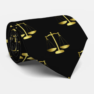 Gold Scales Of Justice on Black Repeat Pattern Tie