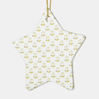 Gold Scales Of Justice on White Repeat Pattern Ceramic Ornament