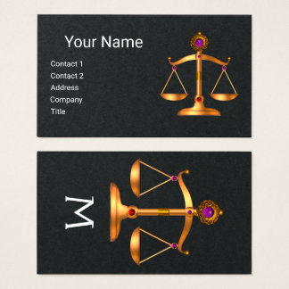 GOLD SCALES OF LAW,JUSTICE MONOGRAM,Black Paper Business Card