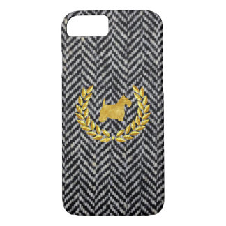 Gold Scottie and Charcoal Herringbone iPhone 7 Case