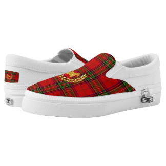 Gold Scottie and Wreath on Stewart Plaid Slip-On Sneakers