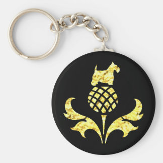 Gold Scottie Thistle Personalize Keychain
