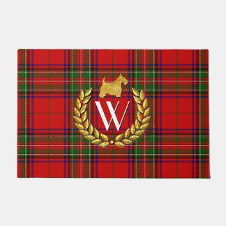 Gold Scottie, Wreath and Monogram Doormat