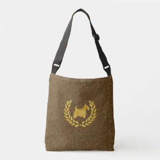 Gold Scottie & Wreath Herringbone Crossbody Bag