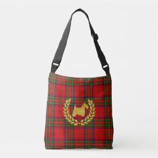 Gold Scottie & Wreath Stewart Plaid Crossbody Bag