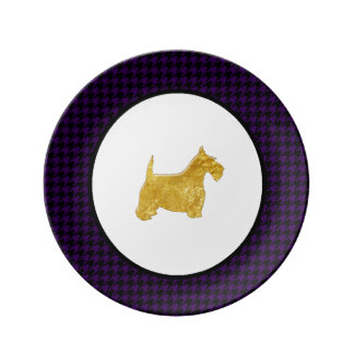 Gold Scottie Your Color Houndstooth Porcelain Plate