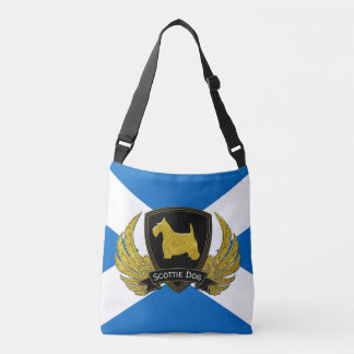Gold Scottie Your Text Scottish Flag Crossbody Bag