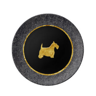 Gold Scottish Terrier Herringbone Personalize Porcelain Plates