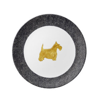 Gold Scottish Terrier With Herringbone Porcelain Plates